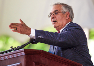 U.S. Rep. Barney Frank, D-Mass., addresses an audience during Harvard Class Day exercises on the campus of Harvard University, in Cambridge, Mass., Wednesday, May 23, 2012.  The event is part of the school's commencement ceremonies. (AP Photo/Steven Senne)