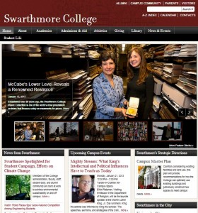 Swarthmore website screenshot