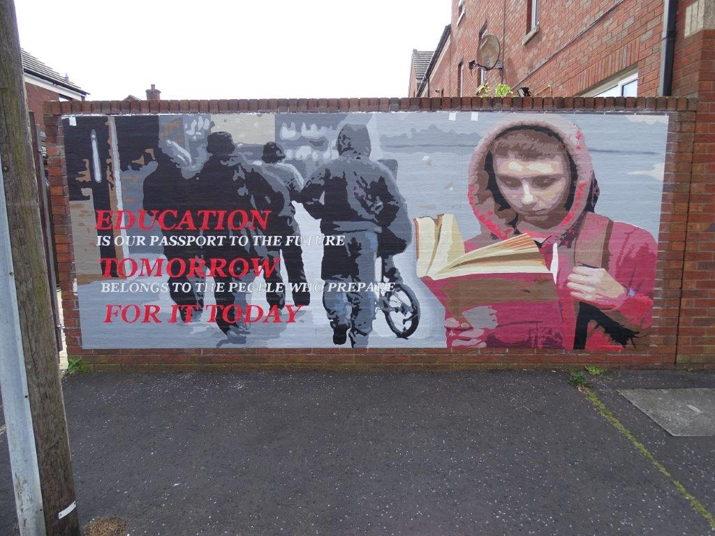 Dee craig installs first cloth murals in europe peace for Education mural