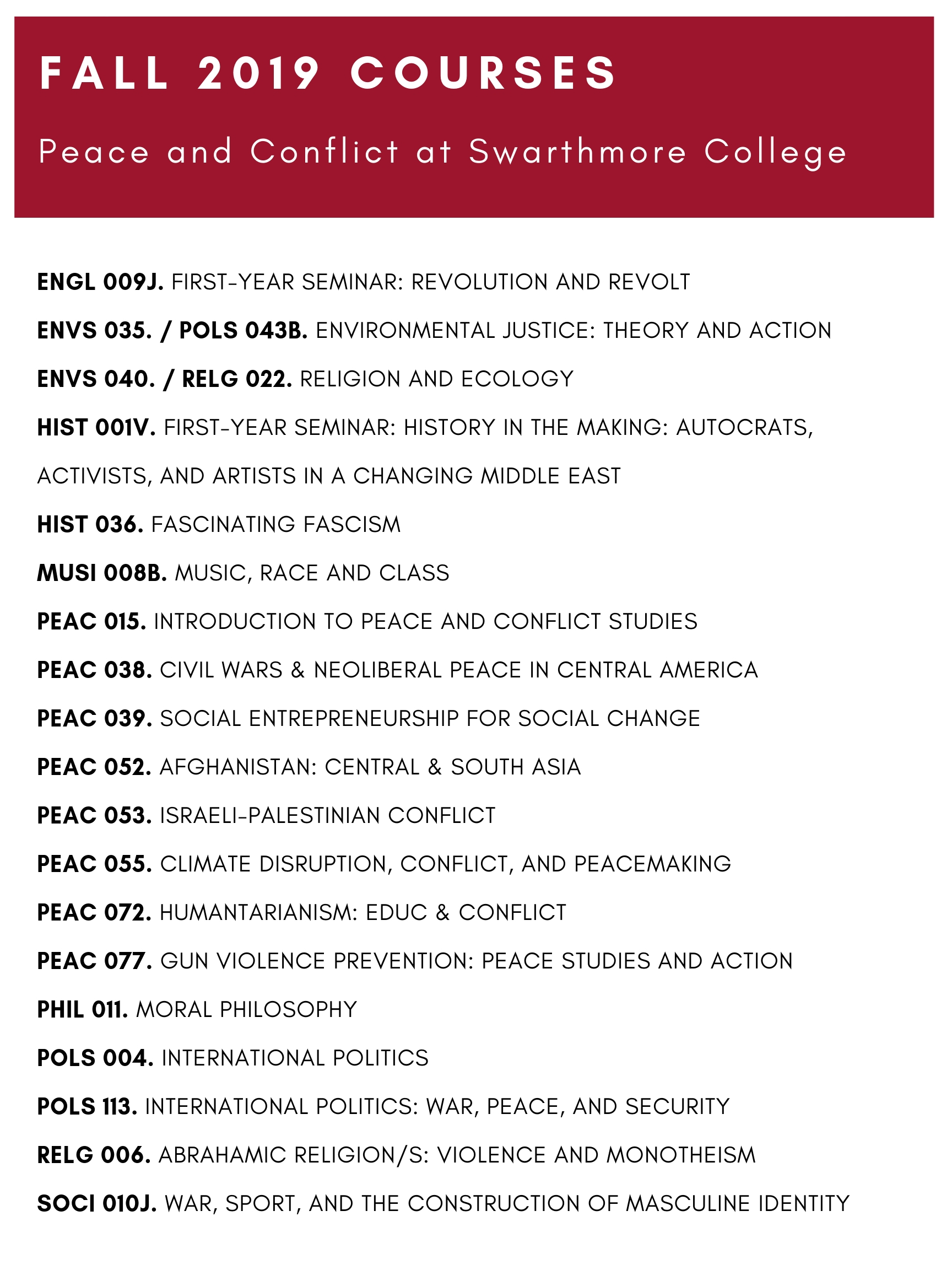 Fall Courses 2019 Peace and Conflict
