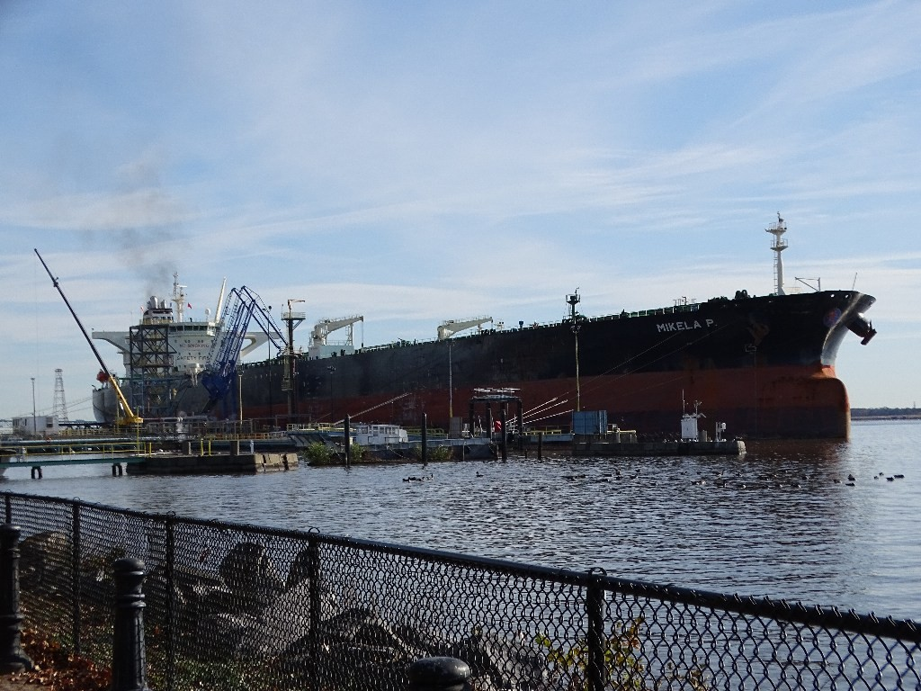 A ship is docked at Marcus Hook near the terminal where natural gas liquids are transferred.