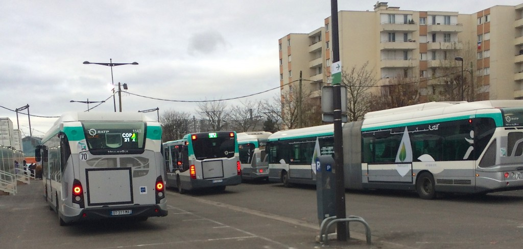 Buses waiting to take COP21 participants from the train station to the meeting site.