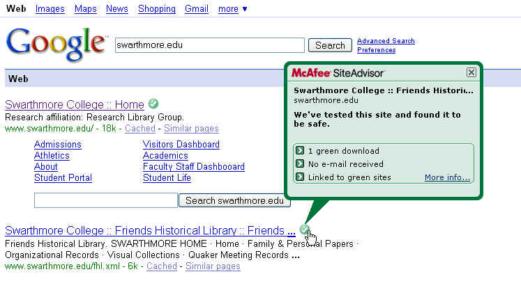 SiteAdvisor in Google