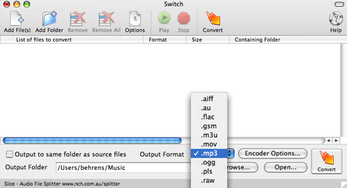 Screenshot of Switch, an audio file conversion utility