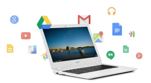 white chromebook surrounded by Google app icons