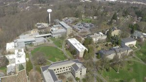 Aerial view of the north side of the Swarthmore College Campus