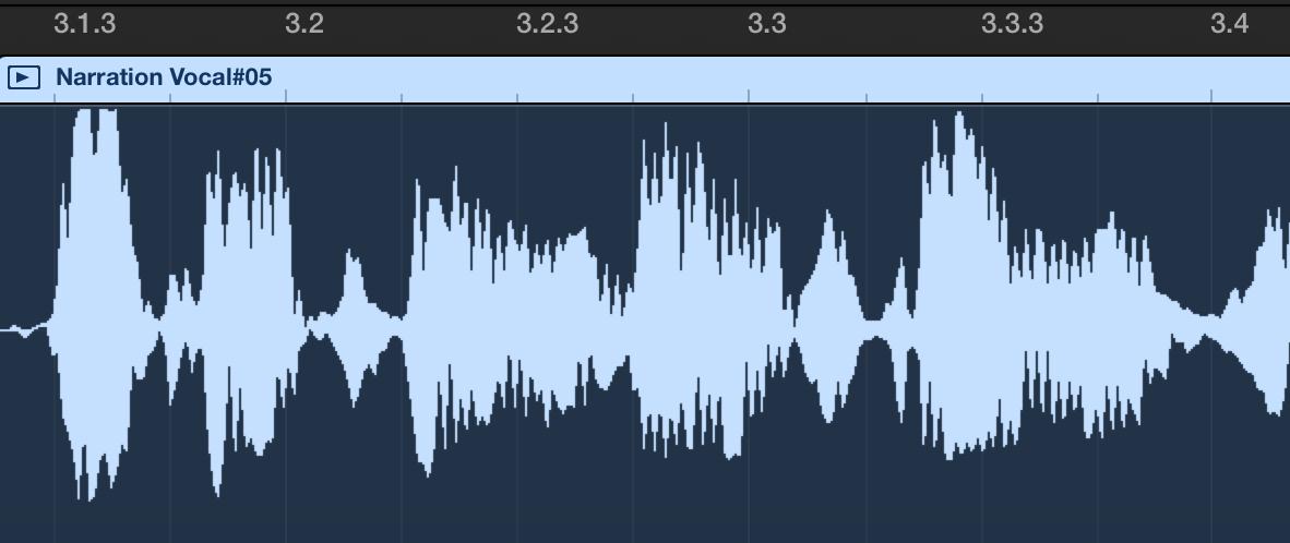 Garageband vocal waveform