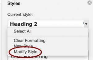 to the right of a style, choose modify style from the dropdown