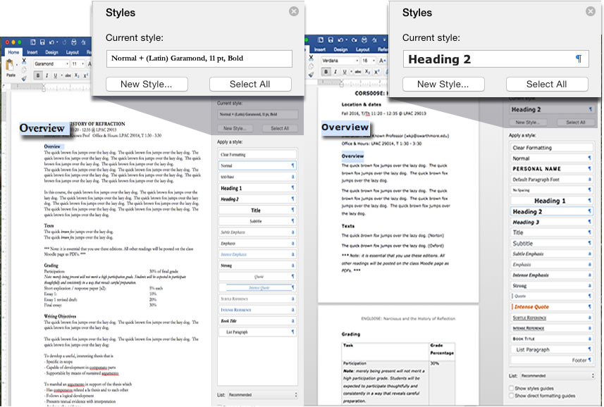 two side by side Word documents, one using styles, the other not