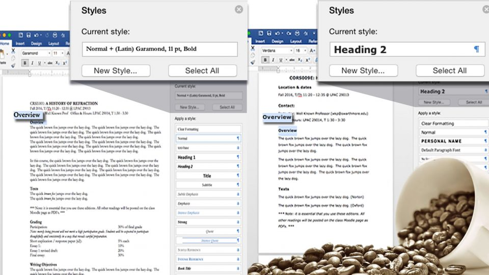 Two Word docs side by side, with and without styles