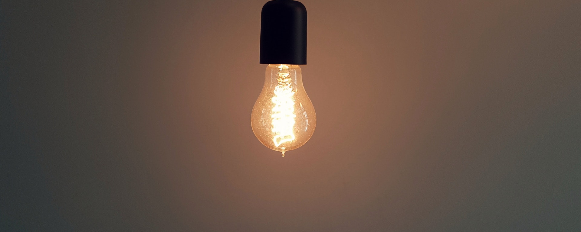 Single lightbulb turned on