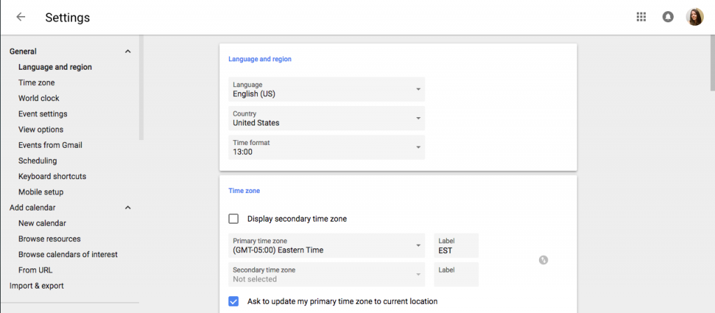 Screen capture of the new layout for Google Calendar settings.