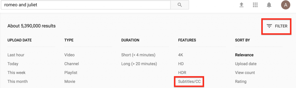 screenshot highlighting the filter and closed caption button in YouTube