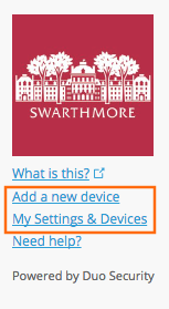 Add device and settings links highlighted