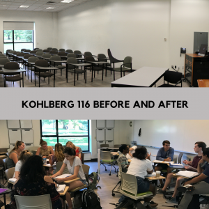 split image of kohlberg 116 classroom before renovations with chairs in rows. The bottom half of the image has students in chairs on wheels split into to groups.