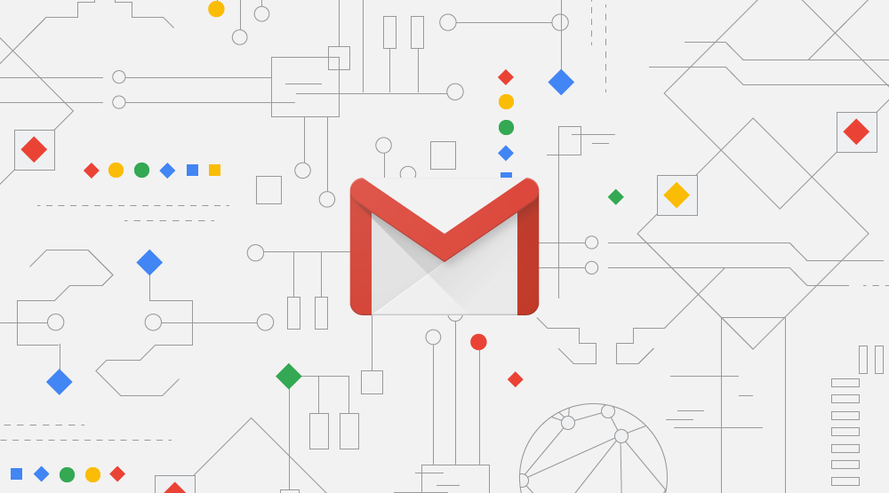 Gmail logo surrounded by geometric shape outlines meant to look like circuits.