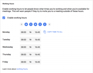 A screen capture of the Working Hours section in the Google Calendar settings.