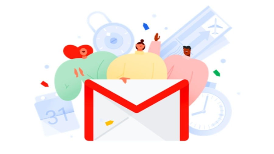 Gmail logo with three cartoon people behind it.
