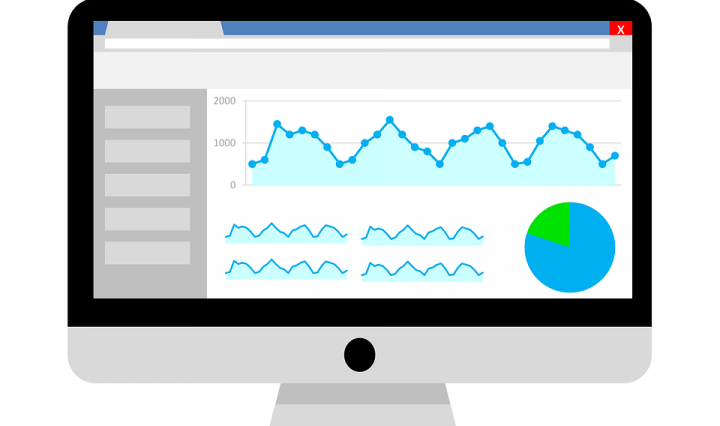 Image of a computer screen showing website analytics