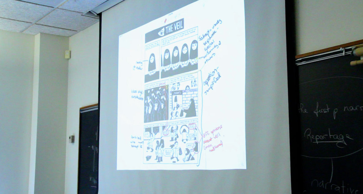 Classroom display of graphic novel with student's projected annotations