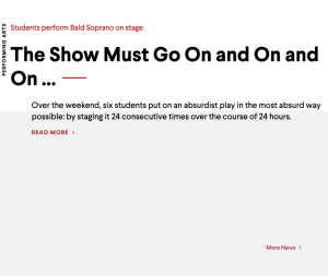 "Example of images turned off.  The alt text of this image states ""Students perform Bald Soprano on stage"""