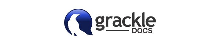 Grackle Docs logo - grackle silhouetted against blue background