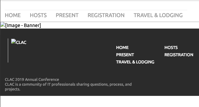 website with images turned off. All the essential information about a conference is contained in an image with a meaningless alt tag
