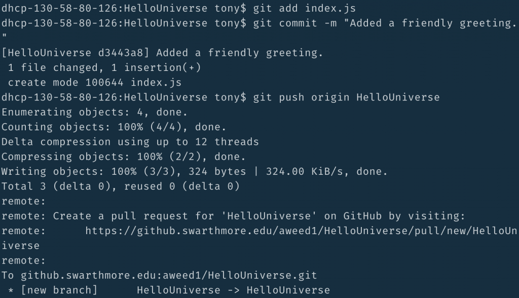 git commit to branch