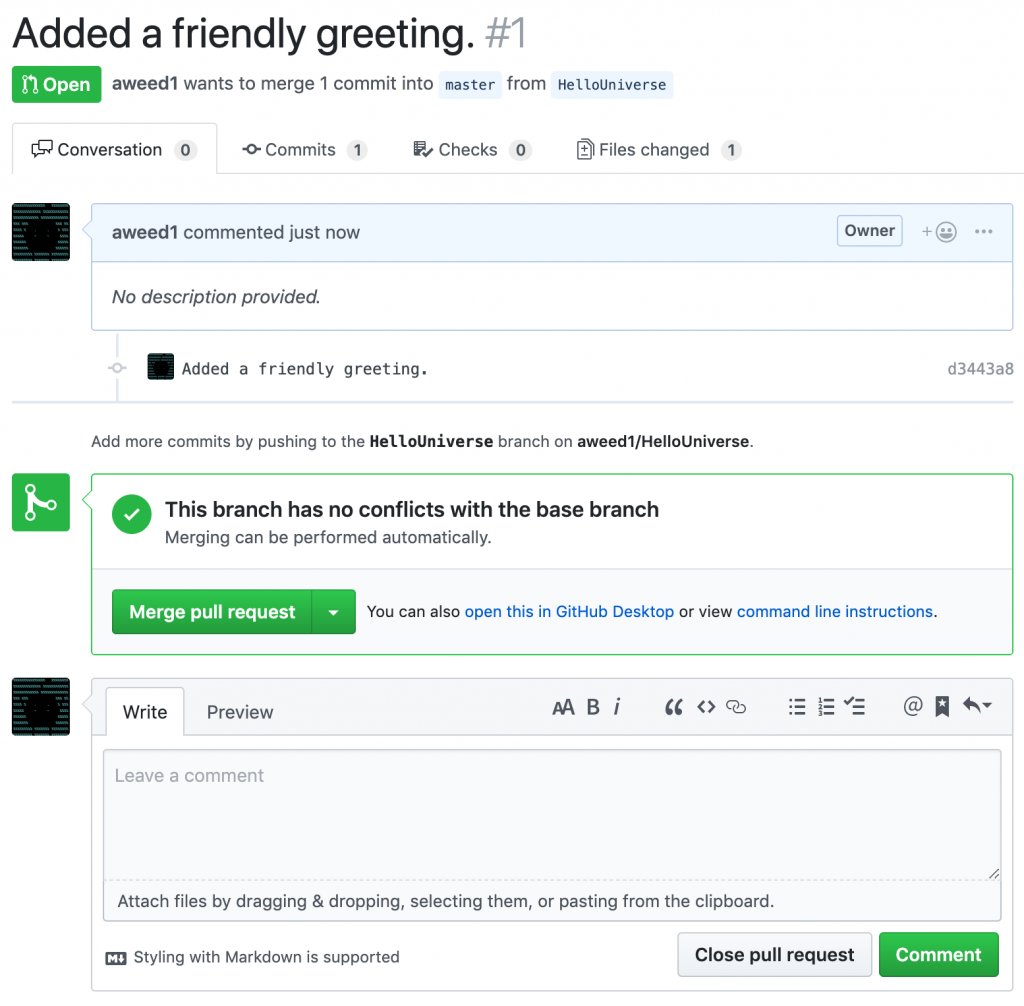 Issuing a pull request with github