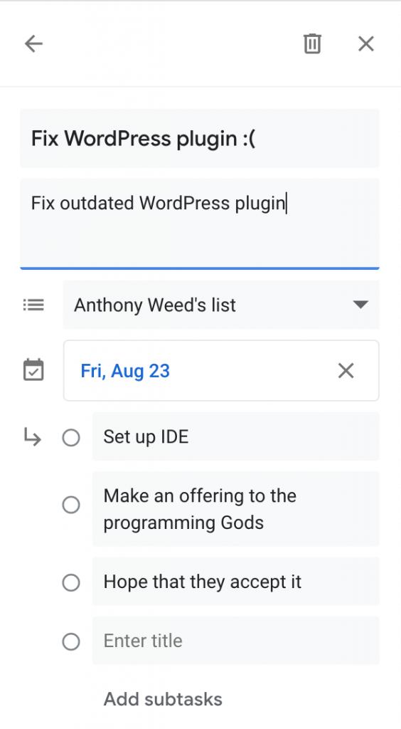 Example Google task