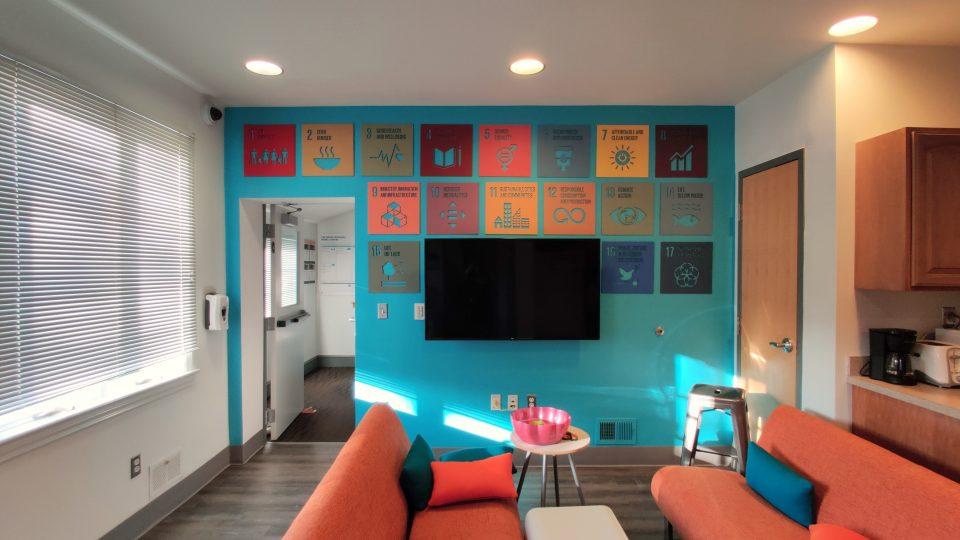 Tiles illustrating 17 UN Sustainable Development Goals in Swarthmore Lang Center