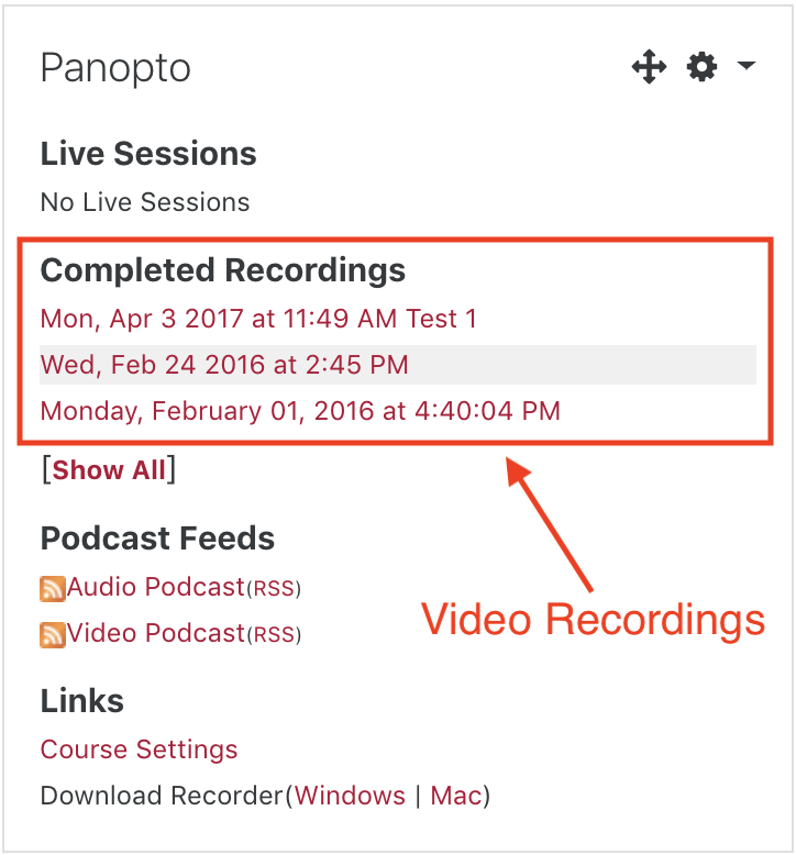 Screenshot of Panopto Block in Moodle displaying links to several different video recordings