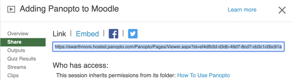 Screenshot of Share link in Panopto