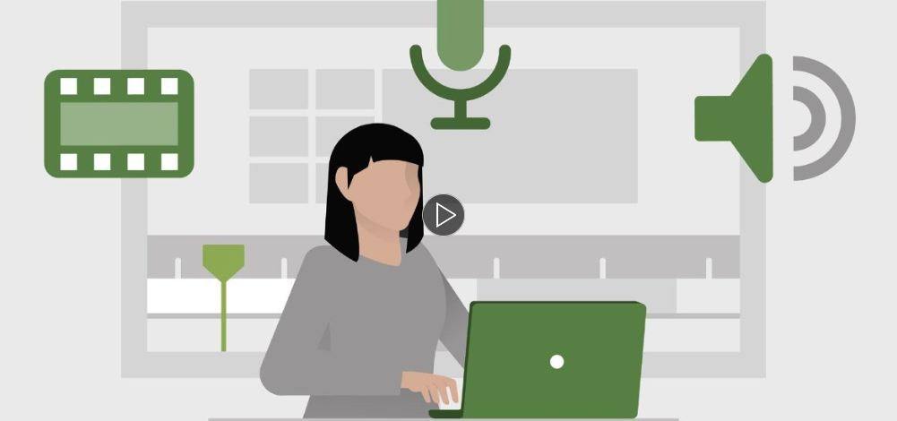 Illustration of woamn sitting at desk with laptop in front of her. There are icons of a microphone, speaker, and film strip surrounding her.