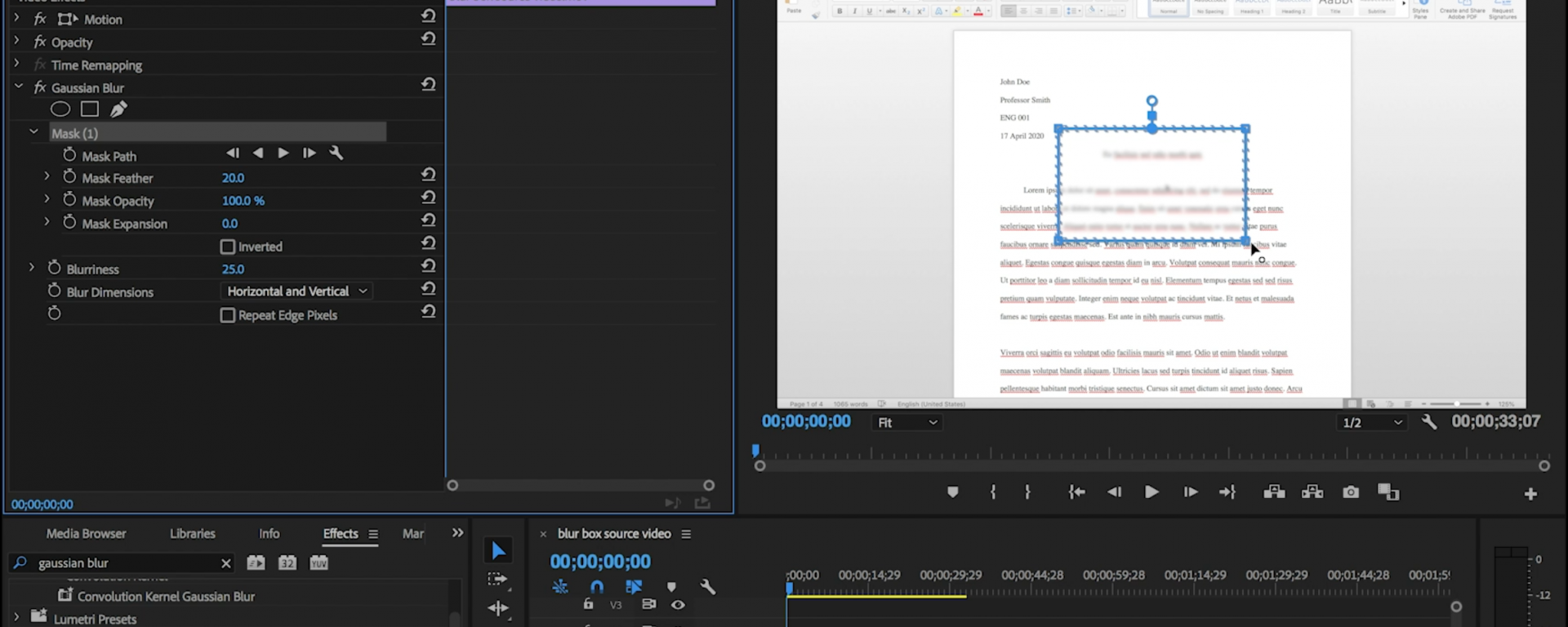 Adobe Premiere interface with blurring box featured
