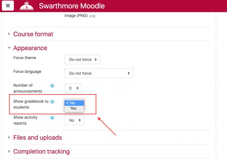 Screenshot highlighting the show gradebook to students dropdown menu in Moodle.
