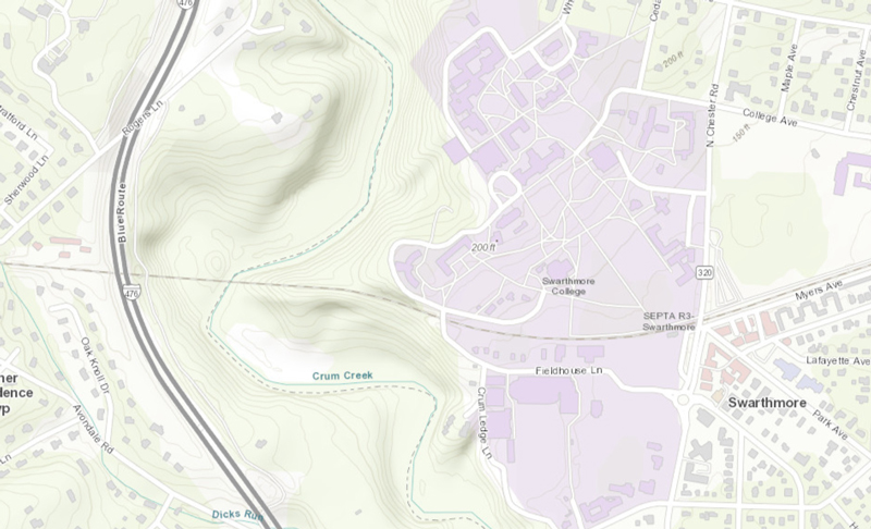Topographic Map of Swarthmore College