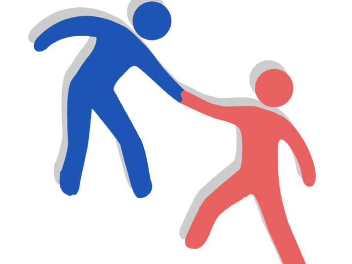 An image of two figures holding hands, one helping the other