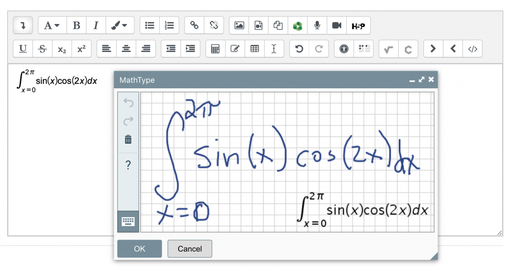 Screenshot of MathType Handwriting Recognition Example