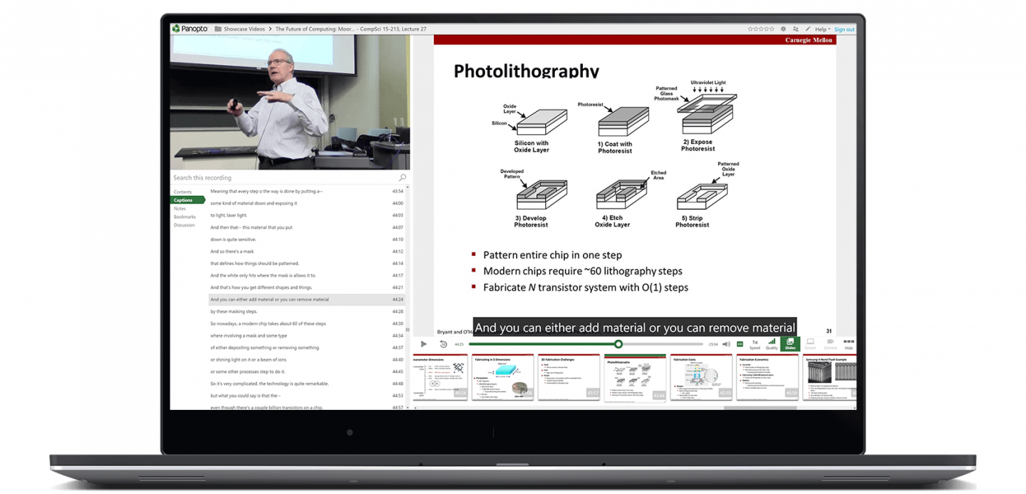 video of a lecture capture where a professor is in the corner of the video teaching in a classroom and his powerpoint slides are on the right of the video