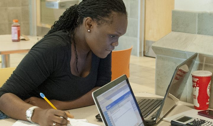 student taking an online exam