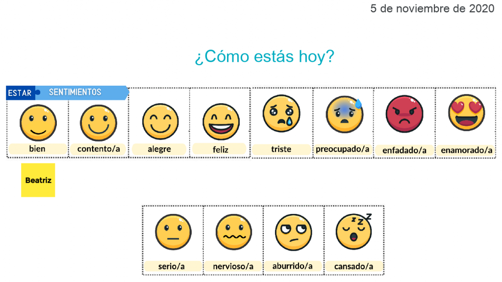 The text how are you doing written in Spanish above 12 boxes with different smiley faces expressing several ranges of emotion.