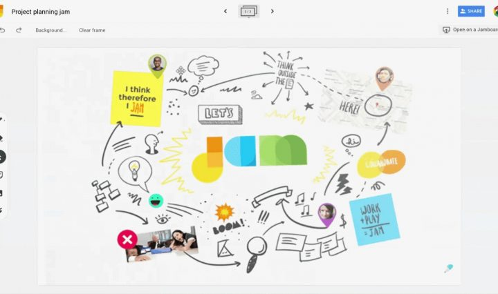 Digital whiteboard with sticky notes, images, and annotations on it