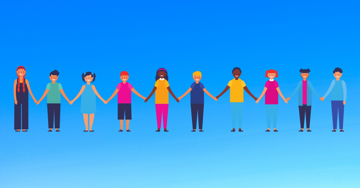 illustration of diverse group of students holding hands and smiling