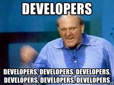 "Steve Ballmer yells ""Developers"" multiple times while on stage during a presentation"
