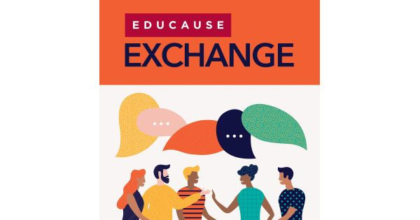 illustration of diverse student talking in a group with multi-colored thought bubbles above their heads. Educause exchange logo on top.
