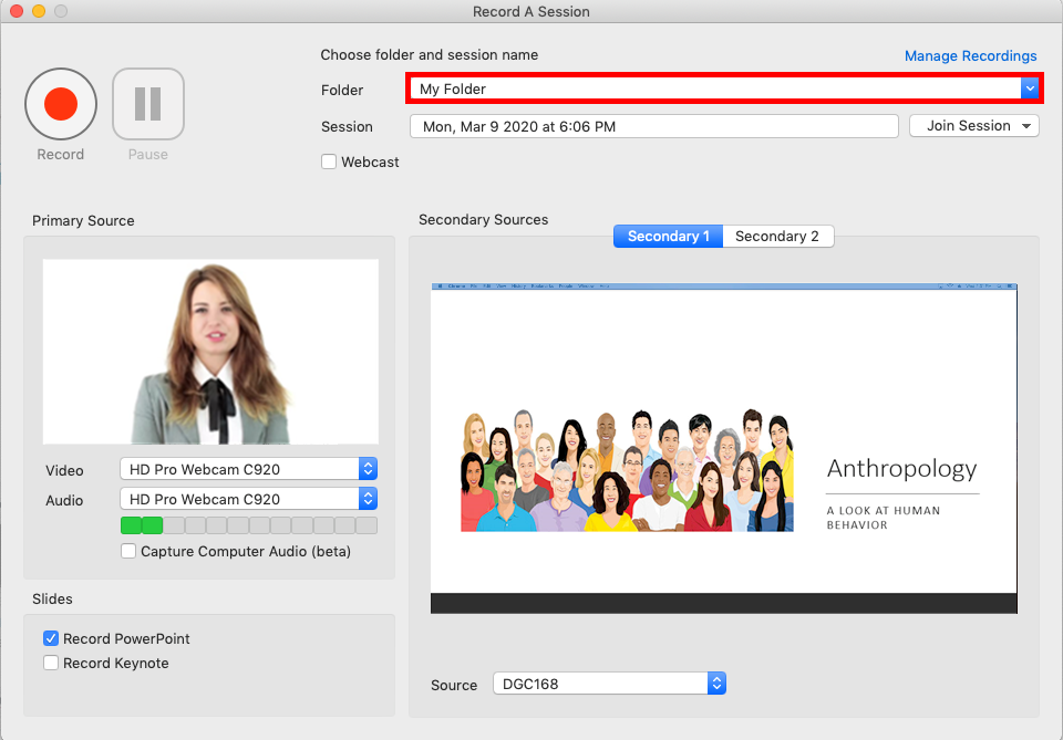 screenshot of the Panopto recorder app. The video camera display is showing on the right with a picture of a woman with blonde hair. In the middle is a picture of a crowd of people alongside a block of text on a PowerPoint slide. The image has highlighted the folder dropdown menu.