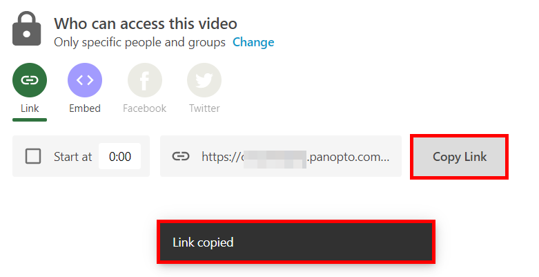 Panopto share setting menu under the who has access section. The Copy link button is highlighted.