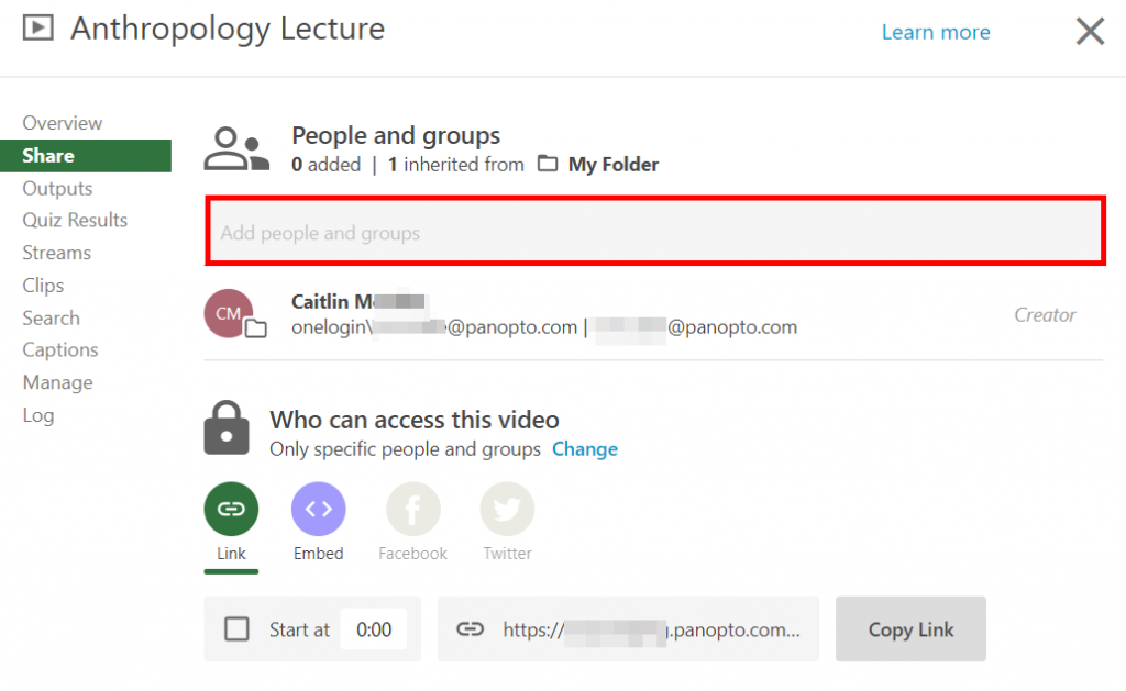 Panopto video share settings menu