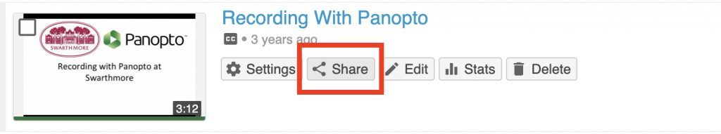 Screenshot of a Panopto video thumbnail with the share button highlighted.